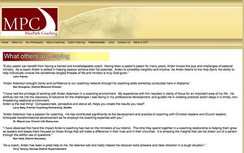 Screenshot of Testimonials Page maxpathcoaching.com - Clients and Testimonials - captured Oct. 27, 2014