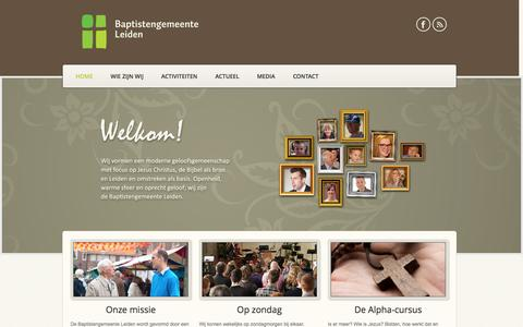 Screenshot of Home Page baptistleiden.nl - Baptistengemeenten Leiden - Kooikapel - captured Oct. 5, 2014