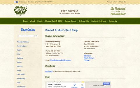 Screenshot of Contact Page Maps & Directions Page grubersquiltshop.com - Contact Gruber's Quilt Shop 310 – 4th Avenue NE Waite Park, MN  56387 - captured June 21, 2016