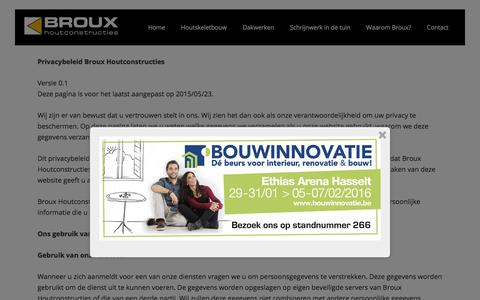 Screenshot of Privacy Page broux.com - Privacy | Broux Houtconstructies Overpelt - captured Feb. 7, 2016