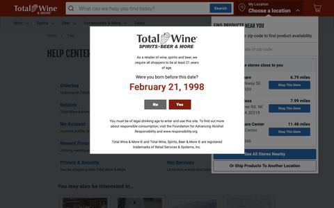 Screenshot of FAQ Page totalwine.com - Help Center | Total Wine & More - captured Feb. 21, 2019