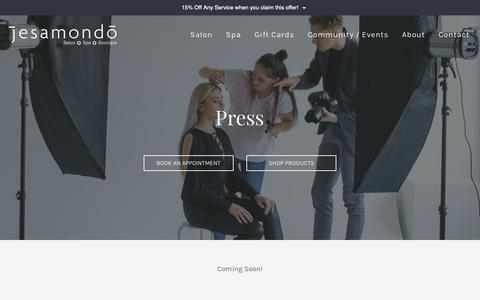 Screenshot of Press Page jesamondo.com - Premier salon and day spa-Hair, Nails, Facials, Medical Aesthetics| Jesamondo Salon & Spa - captured Oct. 13, 2018
