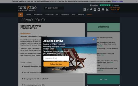 Screenshot of Privacy Page totstoo.com - PRIVACY POLICY - Tots Too - captured Sept. 23, 2018