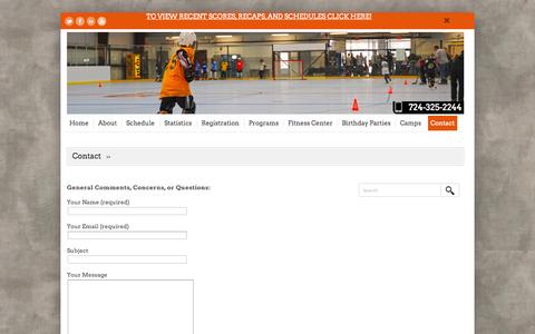 Screenshot of Contact Page murrysvillesportzone.com - Contact | Murrysville SportZone - captured Oct. 9, 2014