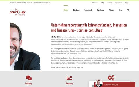 Screenshot of Home Page start-up-berater.de - Unternehmensberatung - Existenzgründungsberatung start!up consulting - captured Sept. 23, 2018