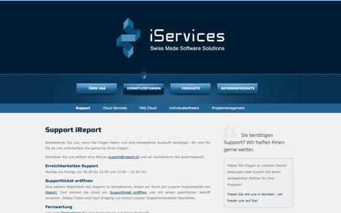 Screenshot of Support Page iservices.ch - Support - captured Oct. 6, 2014