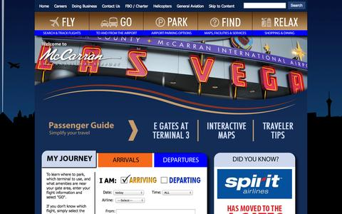Screenshot of Home Page Contact Page Services Page Maps & Directions Page mccarran.com - McCarran International Airport > Index - captured Sept. 22, 2014