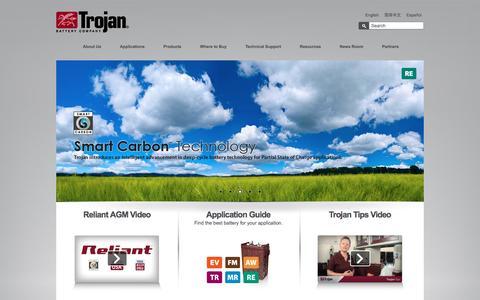 Screenshot of Home Page trojanbattery.com - Trojan Battery Company - captured Feb. 2, 2016