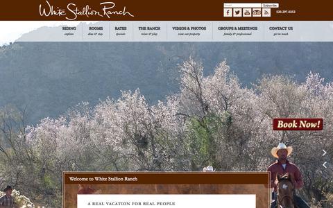 Screenshot of Home Page whitestallion.com - Welcome to White Stallion Ranch - Tucson, Arizona - Guest Ranch, Arizona Ranches, Ranches in Arizona, Tucson Ranches, Horseback Riding - captured Oct. 7, 2014