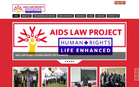 Screenshot of Home Page aidslawproject.org - Aids Law Project | Human Rights, Life Enhanced - captured Sept. 30, 2014