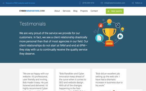Screenshot of Testimonials Page cyberinnovation.com - Testimonials - Website Design Hosting SEO - captured Sept. 30, 2018