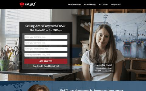 Screenshot of Landing Page faso.com - Selling Art - captured March 15, 2016