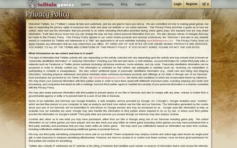 Screenshot of Privacy Page telltalegames.com - Telltale Games - Privacy Policy - captured July 20, 2014