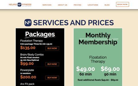 Screenshot of Pricing Page neurofitcenter.com - Pricing   NeuroFitness Wellness Center - captured Feb. 14, 2016