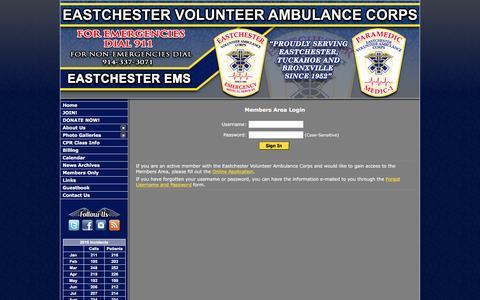 Screenshot of Login Page eastchesterems.com - Eastchester Volunteer Ambulance Corps - Westchester, NY - captured Oct. 19, 2016