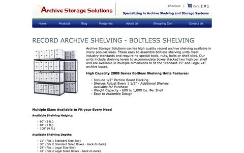 Screenshot of Products Page archivestoragesolutions.com - Record Archive Shelving | Archive Storage Solutions - captured Oct. 4, 2014