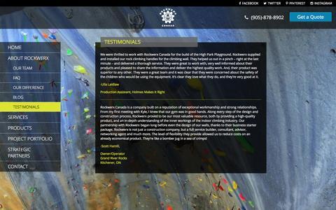 Screenshot of Testimonials Page rockwerx.ca - Testimonials | Rockwerx Canada - captured March 8, 2016
