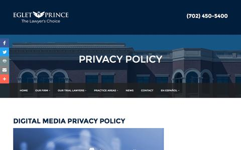 Screenshot of Privacy Page egletlaw.com - PRIVACY POLICY | Eglet Law - captured Dec. 26, 2016