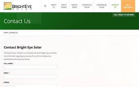 Screenshot of Contact Page brighteyesolar.com - Contact Us | Bright Eye Solar - captured June 3, 2017