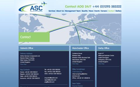 Screenshot of Contact Page ascltd.com - Contact, Airline Services Components - captured Oct. 4, 2014