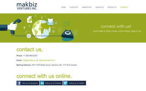 Screenshot of Contact Page makbiz.ca - Contact & About Us | MAKBIZ Ventures Inc. - captured Nov. 11, 2018