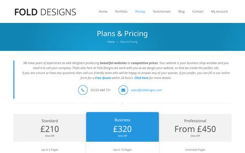 Screenshot of Pricing Page folddesigns.com - Plans & Pricing - Affordable & Competitive   Fold Designs - captured Sept. 30, 2014