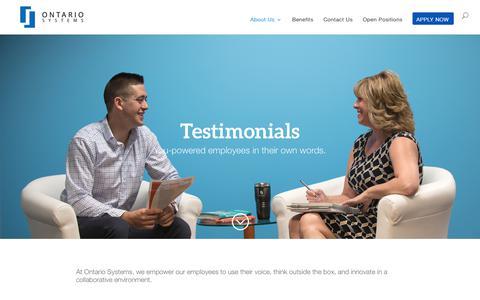 Screenshot of Testimonials Page ontariosystems.com - Employee Testimonials - Careers - captured Feb. 12, 2020