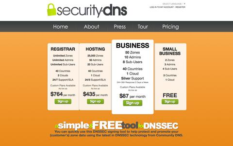 Screenshot of Pricing Page security-dns.net - Security-DNS.net - DNSSEC Zone Signing Tool  - About - captured March 4, 2016