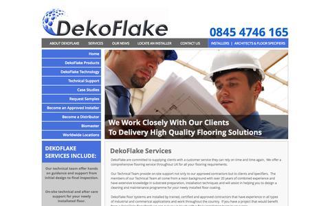 Screenshot of Services Page dekoflake.co.uk - Seamless Resin Flooring Experts  |  DekoFlake UK - captured Oct. 29, 2014