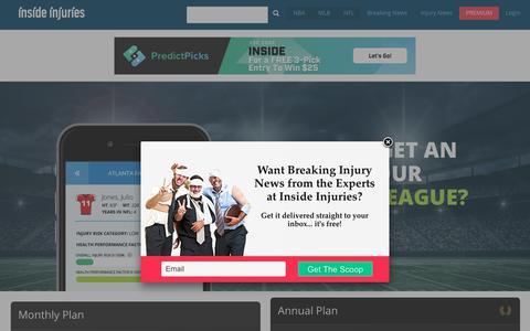 Screenshot of Pricing Page insideinjuries.com - Pricing - Inside Injuries : Inside Injuries - captured Sept. 19, 2018