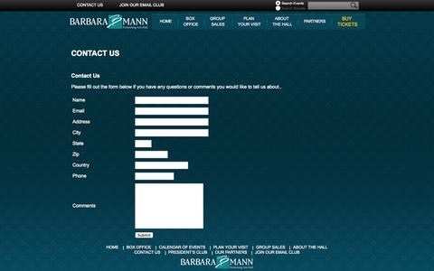 Screenshot of Contact Page bbmannpah.com - Barbara B. Mann Performing Arts Hall - captured Oct. 5, 2014