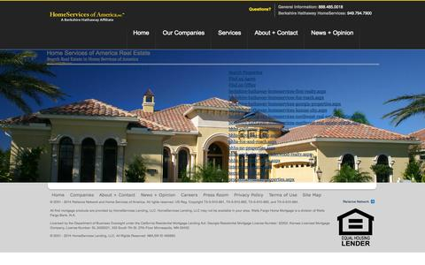 Screenshot of Site Map Page homeservices.com - Home Services of America - Site Map - captured Sept. 19, 2014