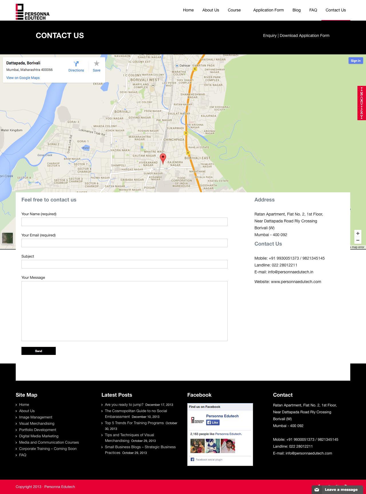 Screenshot of personnaedutech.com - Personna Edutech |   Contact Us - captured Sept. 29, 2014