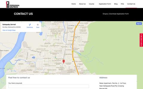 Screenshot of Contact Page personnaedutech.com - Personna Edutech |   Contact Us - captured Sept. 29, 2014