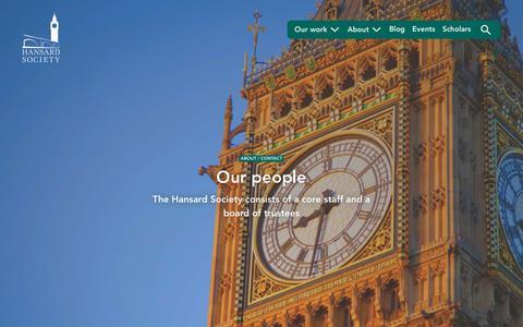 Screenshot of Team Page hansardsociety.org.uk - Our people | Hansard Society - captured Dec. 3, 2018
