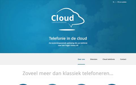 Screenshot of Home Page cloud-communications.be - Telefonie in de cloud - Cloud Communications - captured Oct. 2, 2014