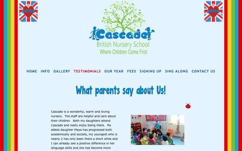 Screenshot of Testimonials Page cascade-kuwait.com - Testimonials — Cascade British Nursery Kuwait - captured April 9, 2017