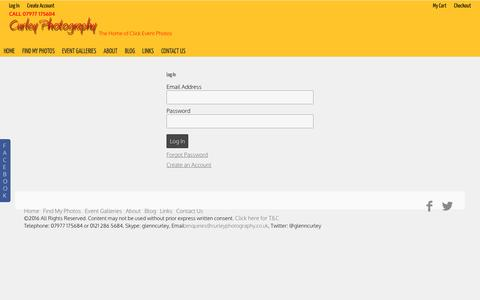 Screenshot of Login Page glenncurley.co.uk - Curley Photography - My Account - captured Nov. 14, 2016