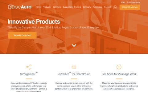 Screenshot of Products Page docauto.com - Enterprise Content Management Software   DocAuto - captured Oct. 12, 2017
