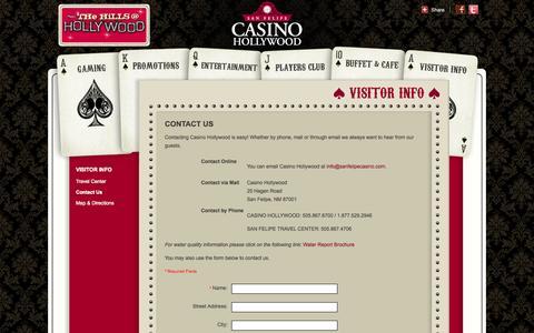 Screenshot of Contact Page sanfelipecasino.com - San Felipe Casino | Contact Us - captured Oct. 4, 2014