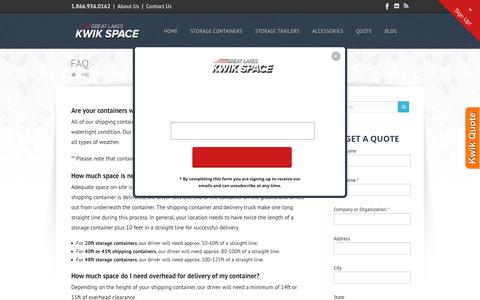 Screenshot of FAQ Page storagecontainers.com - FAQ | Great Lakes Kwik Space - captured Sept. 30, 2018