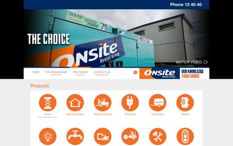 Screenshot of Products Page onsite.com.au - Products :: ONSITE Rental Group - captured Oct. 26, 2014