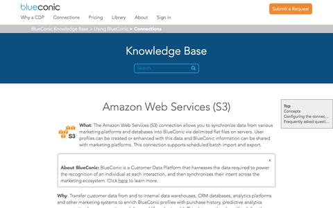 Screenshot of Support Page blueconic.com - Amazon Web Services (S3) – BlueConic Knowledge Base - captured May 2, 2018