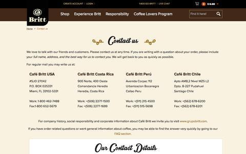 Screenshot of Contact Page cafebritt.com - Contact us - captured July 17, 2015