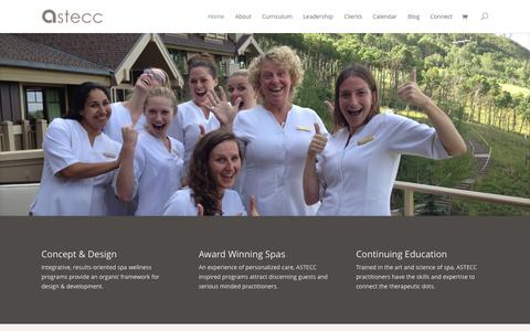 Screenshot of Home Page astecc.com - ASTECC | Spa Therapist & Esthetician Continuing Education Courses - captured Sept. 30, 2014