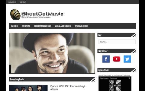 Screenshot of Home Page shoutoutmusic.dk - Dit online musikmagasin med interviews, anmeldelser og meget mere - captured Feb. 23, 2016