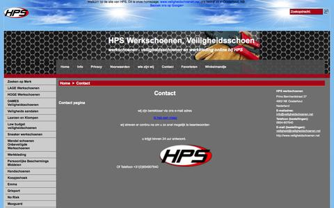 Screenshot of Contact Page veiligheidschoenen.net - Contact opnemen met hps - captured Oct. 1, 2014