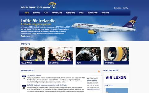Screenshot of Home Page loftleidir.com - Loftleidir.com   A reliable long term partner - captured Oct. 3, 2014
