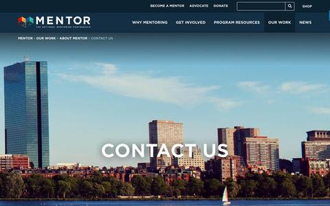 Screenshot of Contact Page mentoring.org - Contact Us - MENTOR - captured Oct. 1, 2018
