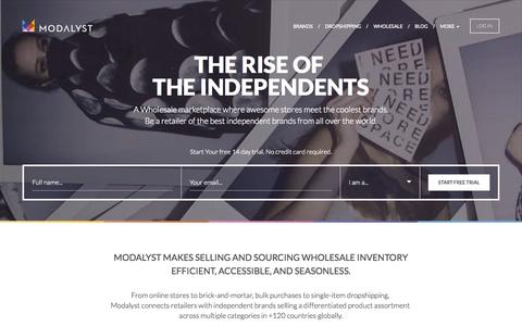 Screenshot of Home Page modalyst.co - The Rise of the independents | Modalyst.co - captured Sept. 12, 2015